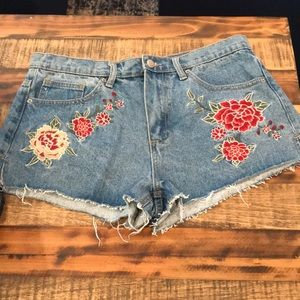 Forever 21 high waist embroidered rose shorts